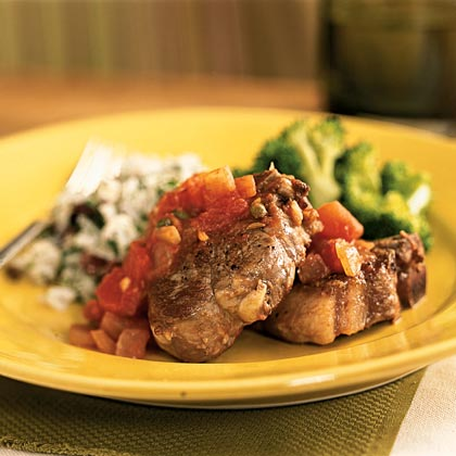 Lamb Chops in Fennel-Tomato-Caper Sauce
