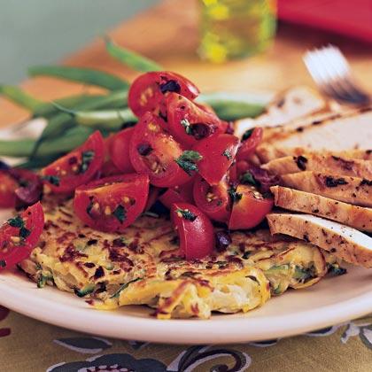 Potato-Zucchini Skillet Pancakes with Cherry Tomato SaladRecipe
