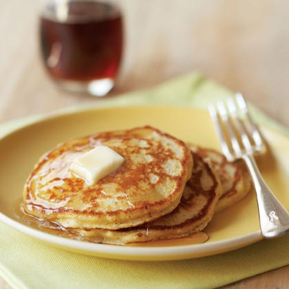"""These are a delicious treat and are excellent reheated. I prepped the hazelnuts a few days ahead of time so the pancakes came together very easily in the morning. I toasted the hazelnuts on the stovetop then removed the skins by placing them on a dish towel and rolling them on the counter."" —JBlairHazelnut-Cornmeal Pancakes