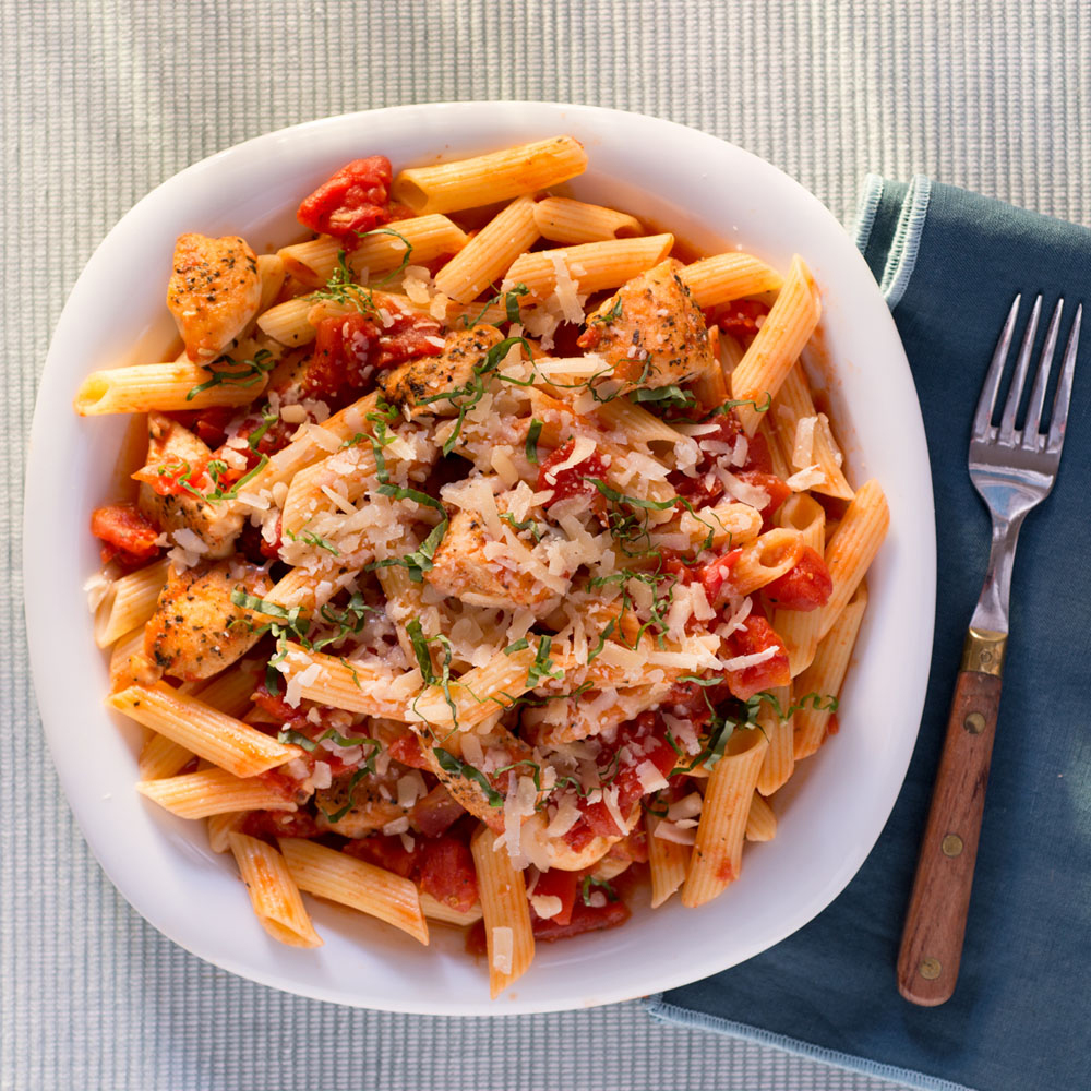 <p>Penne and Chicken Tenderloins with Spiced Tomato Sauce</p>