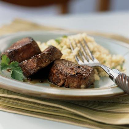 <p>Spiced Pork with Bourbon Reduction Sauce</p>