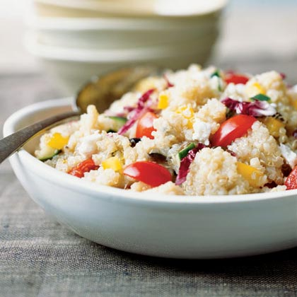 Colorful Quick Quinoa Grecian Salad Recipe
