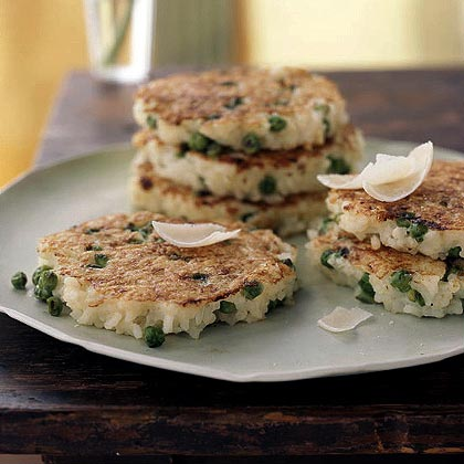 Arborio Rice, Parmesan, and Green Pea Pancakes