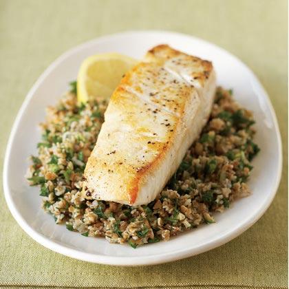 Seared Halibut on Lemon Tabbouleh Recipe