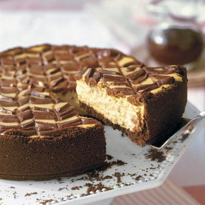 Lightened Chocolate-Coffee Cheesecake With Mocha Sauce RecipeThe marbled topping makes this cheesecake worthy of any bake sale or buffet table. Plus, it's simple to make. Just melt bittersweet chocolate and pour over the cheesecake batter, then swirl a butter knife through the chocolate to create your own unique designs.