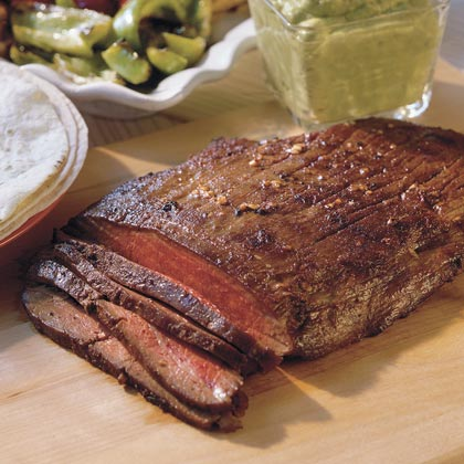 Grilled Flank Steak With Guacamole SauceRecipe