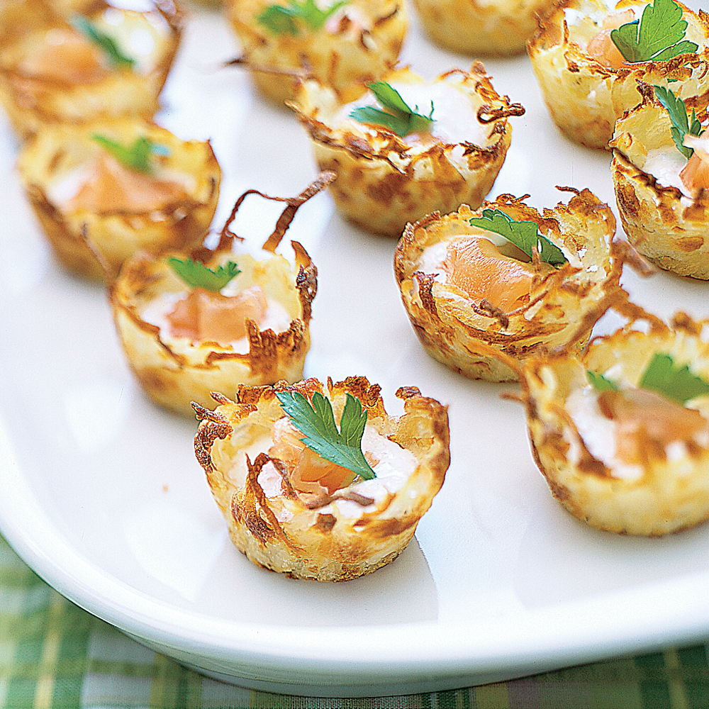 Potato Nests with Sour Cream and Smoked Salmon Recipe