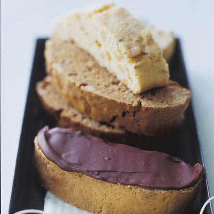Chocolate-Hazelnut Biscotti RecipeTo toast the hazelnuts that go into this decadent biscotti recipe, place whole nuts in a baking pan and bake in a 350° oven until golden brown under skins. You can store these chocolate-coated cookies airtight for up to 3 days.