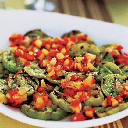 Grilled Green Tomatoes with Red and Yellow Tomato-Basil Salsa