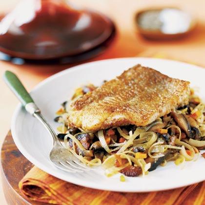 Pan-Roasted Fish on Mushroom-Leek Ragout