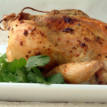 Roast Chicken with Mint-Cilantro Pesto