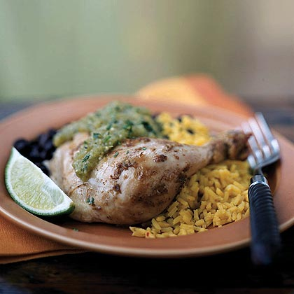 Chipotle-Lime Roast Chicken with Tomatillo SauceRecipe