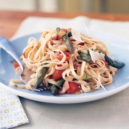 Linguine with Asparagus, Parmesan, and Bacon Recipe