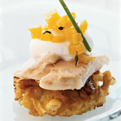 Potato Pancakes with Smoked Trout, Horseradish Crème Fraîche, and Golden Beet Relish Recipe