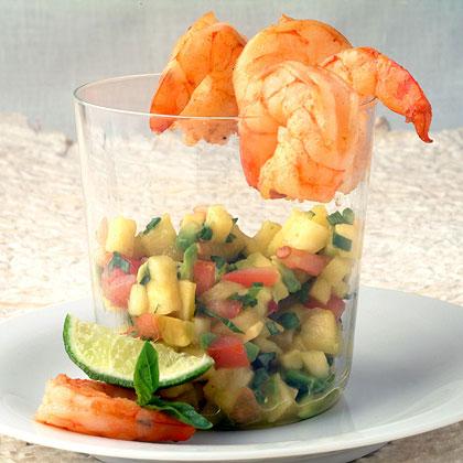 Seared Shrimp Cocktail with Tropical Chipotle-Avocado Salsa
