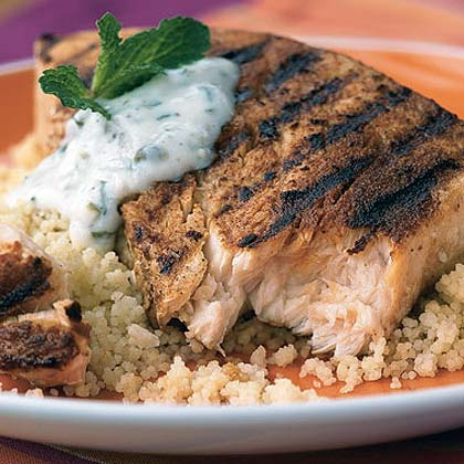 Moroccan Swordfish with Caper-Yogurt Sauce
