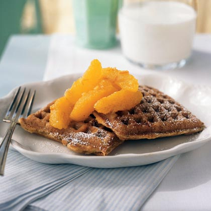 Citrus Waffles with Marmalade Compote