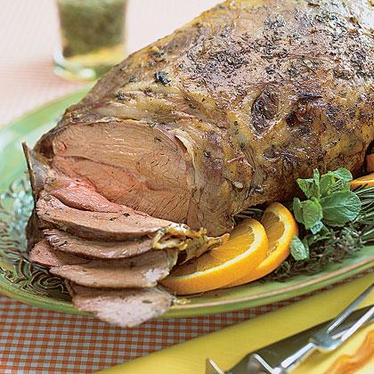 Roast Leg of Lamb with Fresh Mint Sauce
