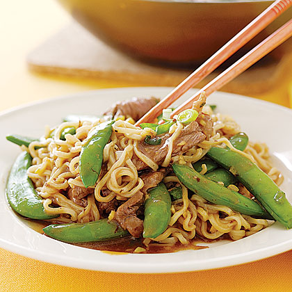Sirloin-Snap Pea Stir-fry RecipeBecause stir-frying uses very high heat to cook vegetables and protein, their full flavor and texture are retained. You also cut your time in the kitchen. Stir-fry thin slices of beef, scallions, garlic, and ginger, and then add beef broth and soy sauce to make a savory sauce for the dish. Toss together with sugar snap peas and ramen noodles for a filling meal.