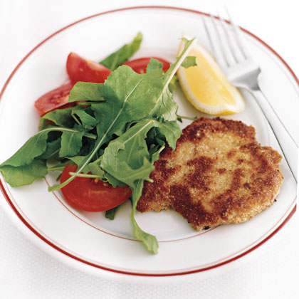 """""""WONDERFUL! I used pork filets rather than cut up pork tenderloin, but no matter, it was awesome. Fresh tasting, simple, so delicious. We added fresh tomatoes with basil, and...just so good."""" -miashallParmesan Pork Cutlets Recipe"""