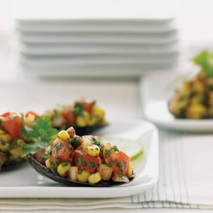 Mussels with Corn-Tomato Salsa Recipe
