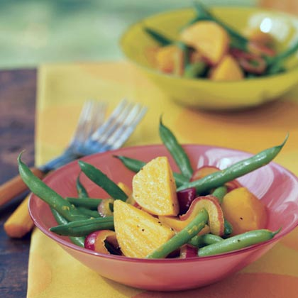 Citrus Pickled Red Onion and Golden Beet Salad with Green Beans