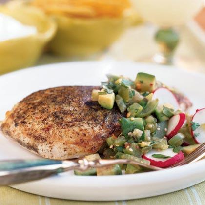 Seared Chicken with Tomatillo-Avocado Salsa