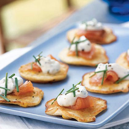 Fresh Corn Blinis with Smoked Salmon and Chive CreamRecipe