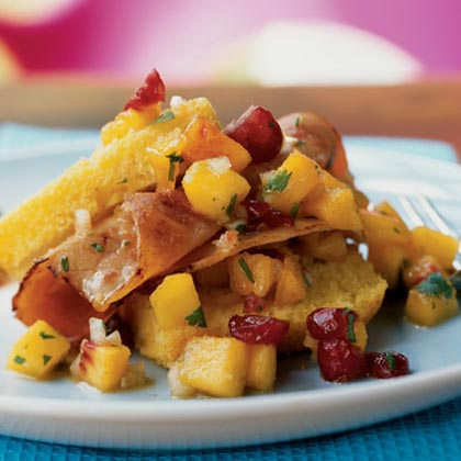 Corn Bread Shortcake with Ham and Fresh Peach Salsa