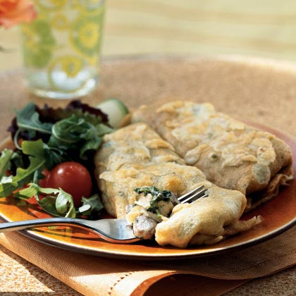 Chicken, Spinach, and Mushroom Crepes