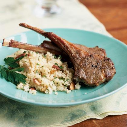 Lamb Rib Chops with Raisin-Almond Couscous