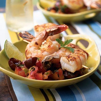Grilled Shrimp Skewers with Summer Fruit Salsa