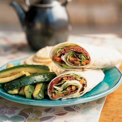 These wrap sandwiches take just a few minutes to assemble and make a quick lunch or supper. Serve with rice crackers and sautéed zucchini.Thai Beef Rolls Recipe
