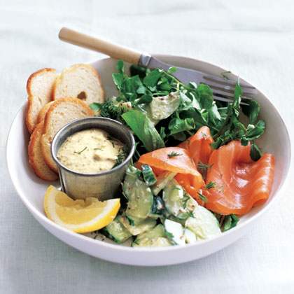 Smoked Salmon with Creamy Cucumber Salad Recipe