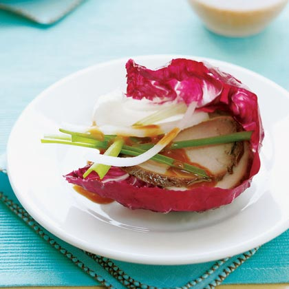 Chinese Pork Radicchio Wraps with Hot-Sweet Dipping Sauce