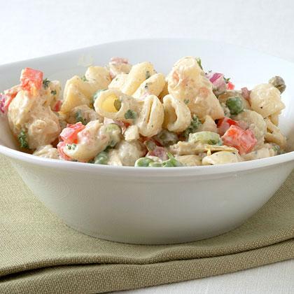 Macaroni Salad with Bacon, Peas, and Creamy Dijon Dressing