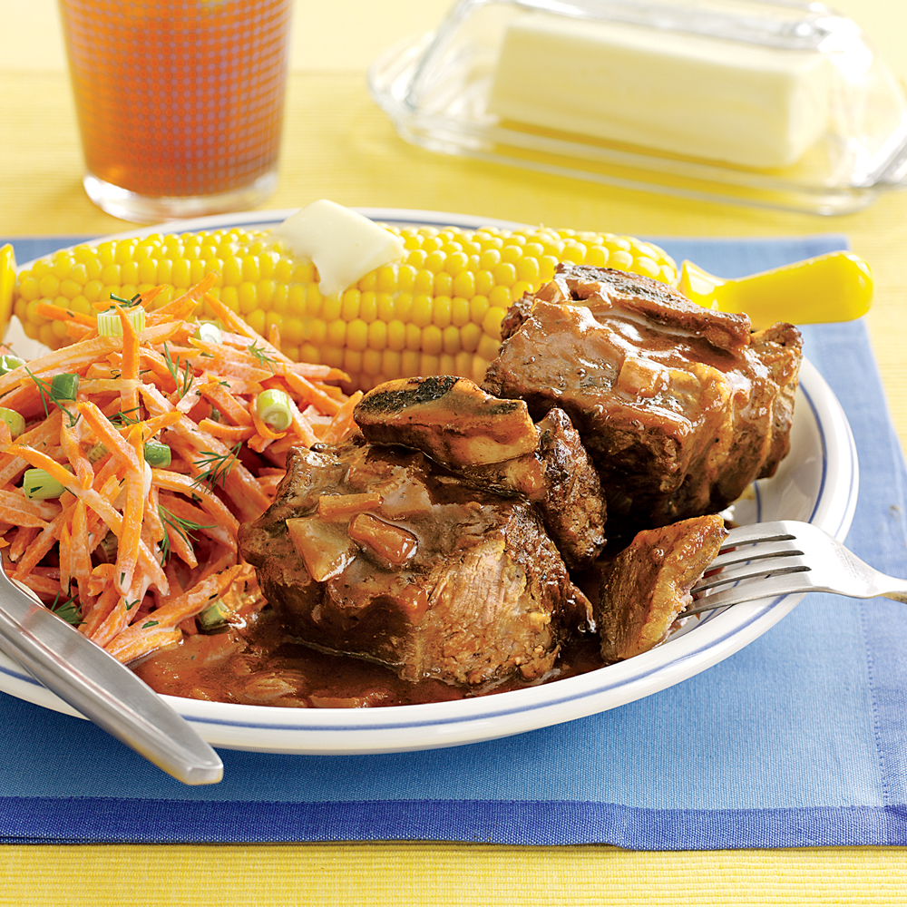 BBQ Beef Short Ribs RecipeSkip the local BBQ joint and serve delicious beef short ribs at home. Three ingredients, plus salt, pepper, and vegetable oil, are all you need to bring the best of the BBQ pit home to your kitchen.