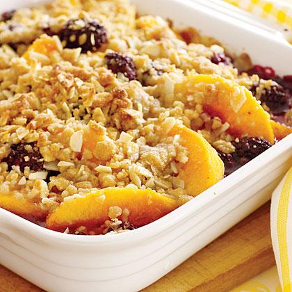 Peach and Blackberry Crumble Recipe | MyRecipes