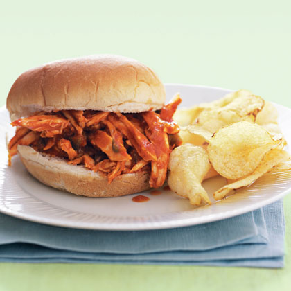 "Barbecue Chicken Sandwiches RecipeCombine rotisserie chicken and bbq sauce for the perfect brown bag sandwich. It's quick, easy, and it has major ""wow"" factor for the lunchroom."