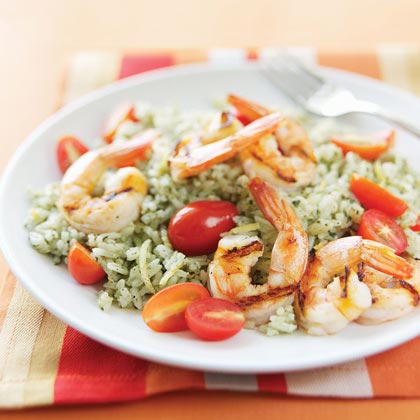 Grilled Shrimp with Lemon-Pesto Rice Recipe
