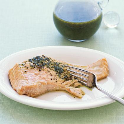 Salmon with Basil Oil