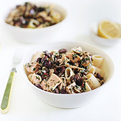 Pasta with Tuna and Black Olive Vinaigrette RecipeOlive oil, capers, garlic, and fresh lemon juice make this pasta dish a Mediterranean-inspired favorite. Top with tuna for a complete meal.
