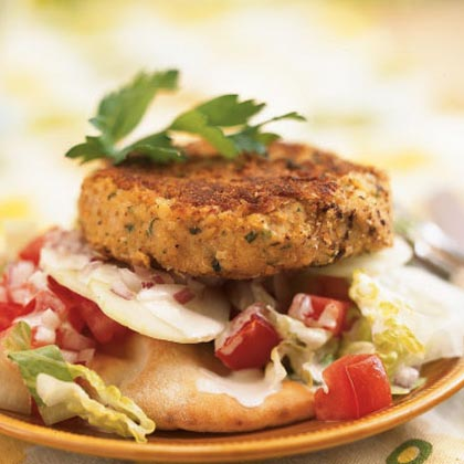 Open-Faced Falafel Burgers Recipe | MyRecipes.com