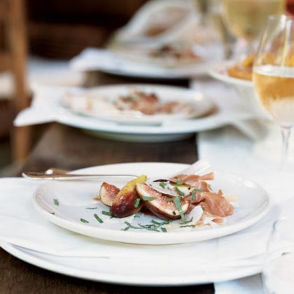 Figs and Prosciutto with Mint and Shaved Parmigiano-Reggiano Recipe