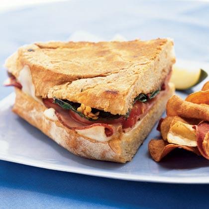 Mozzarella, Ham, and Basil Panini Recipe