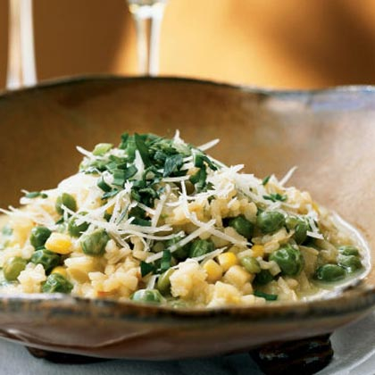 Sweet Pea Risotto with Corn Broth Recipe