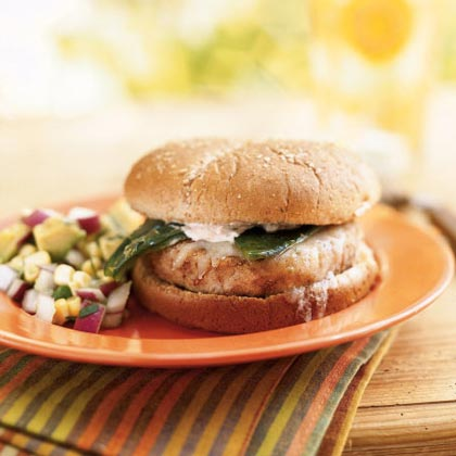 Hominy-Pinto Burgers with Roasted Poblano ChilesRecipe