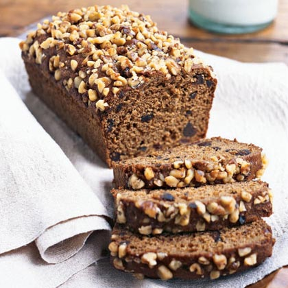 Fig, Date, and Walnut Quick Bread RecipeWhole wheat flour and walnuts give this dense bread a rich, hearty flavor. Add sweetness from dried figs and dates, a little spice from nutmeg and cloves, and zing from grated lemon rind, and this recipe stands out from the rest of the crowd.