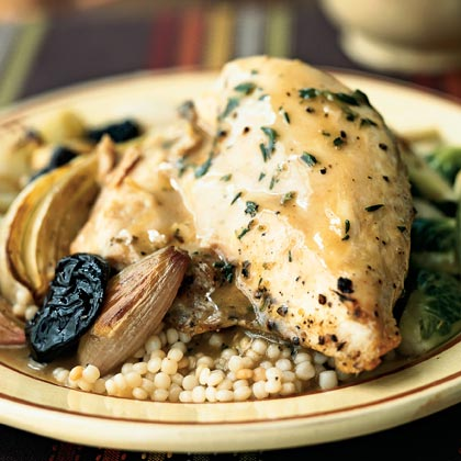 Roasted Chicken with Dried Plums and Shallots Recipe