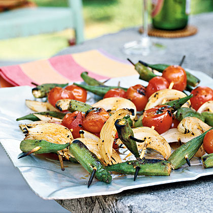 Grilled Okra and Tomato Skewers Recipe